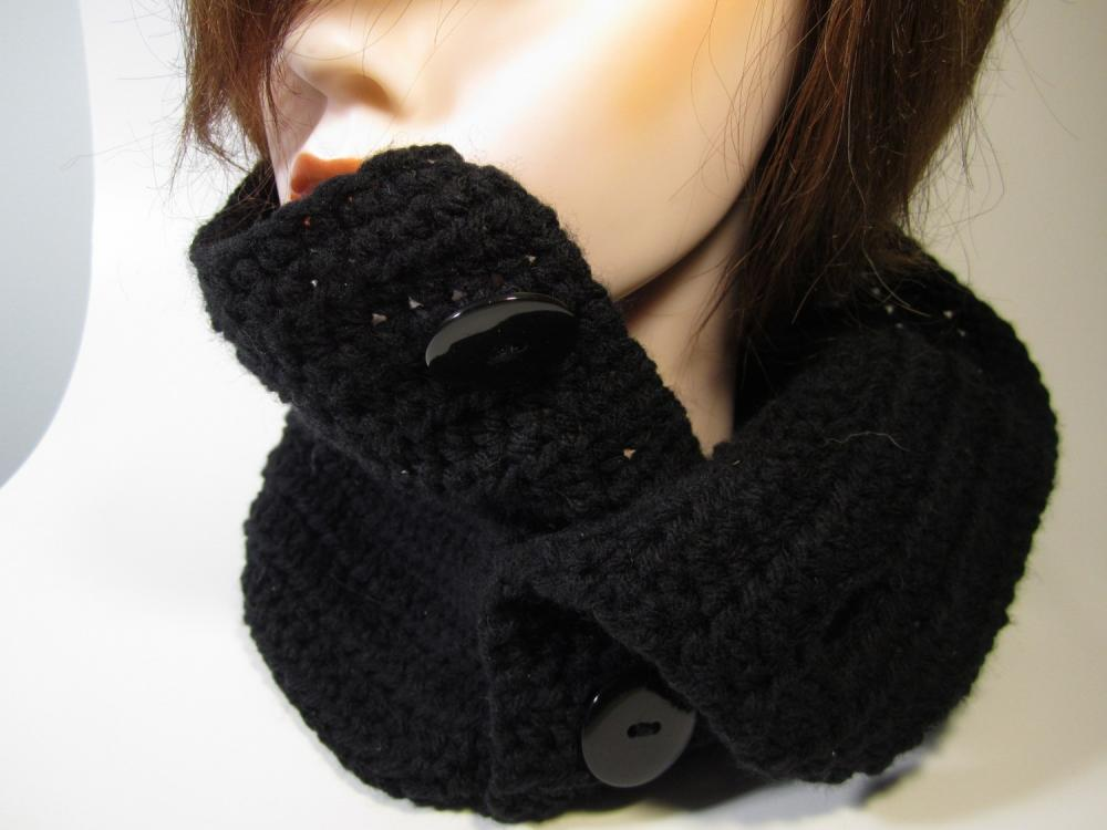 Button Up Cowl - Black
